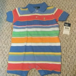 Baby 9 month Polo summer colors striped onesie